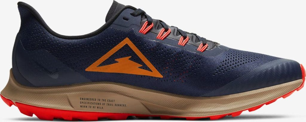 Side view of the Nike Air Zoom Pegasus 36 Trail - Obsidian-Black-Laser Crimson-Magma Orange