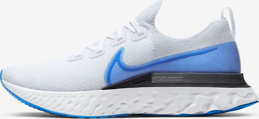 Side view of Nike React Infiinity Run Flyknit in True White/White/Pure Platinum/Photo Blue
