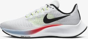 Nike Air Zoom Pegasus 37 Women's Running Shoe in Pure Platinum/Laser Crimson/Psychic Blue/Black