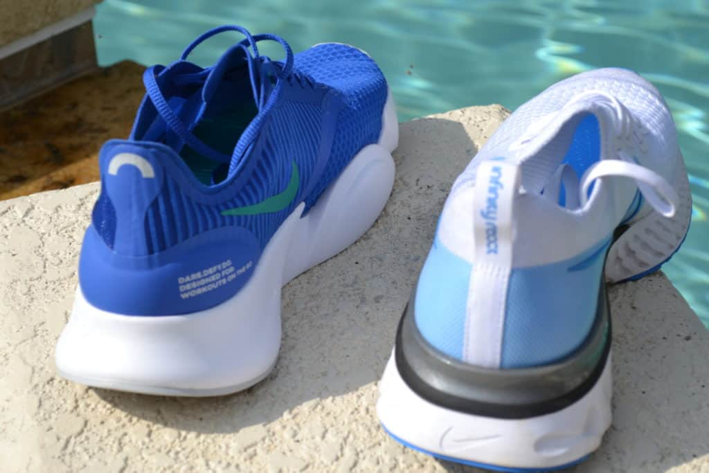 Nike SuperRep Go Training Shoe versus Nike React Infinity Run Flyknit Running Shoe - heel