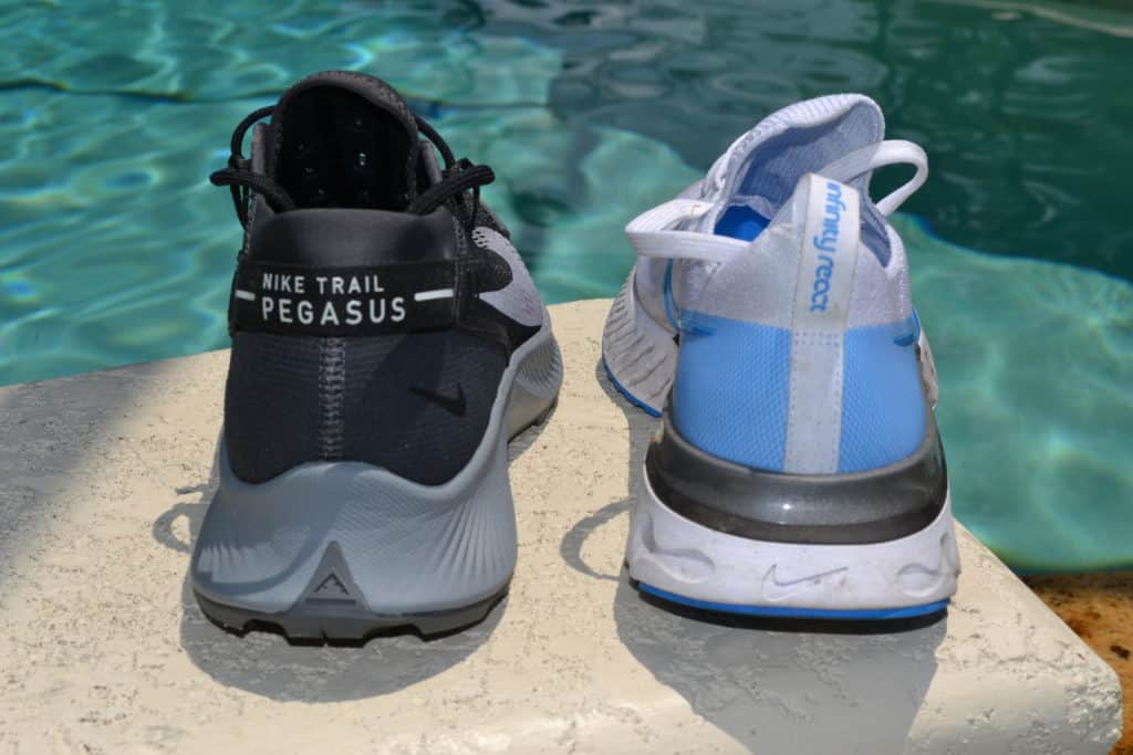 Nike Pegasus Trail 2 Running Shoe Versus React Infinity Run Flyknit - tall stack height