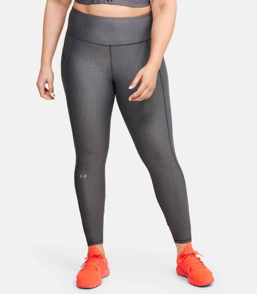 Women's HeatGear Armour Hi-Rise Leggings - Charcoal Light Heather 1X - Front