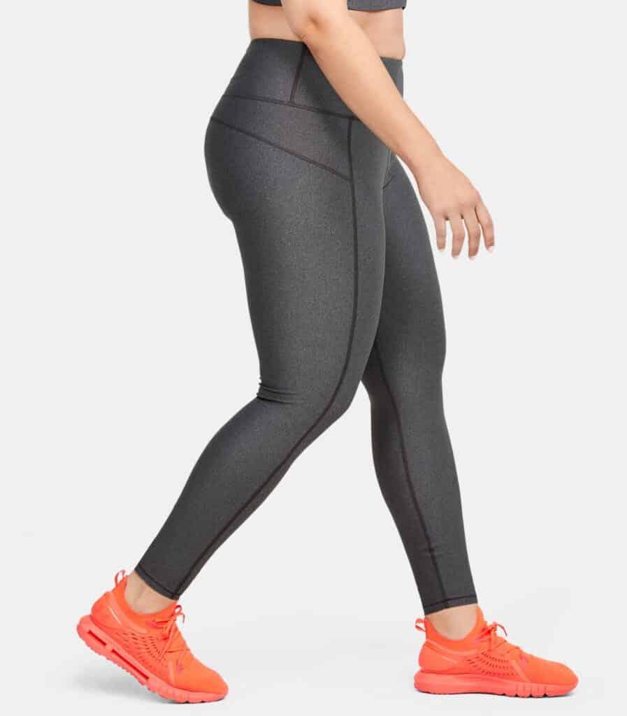 Women's HeatGear Armour Hi-Rise Leggings - Charcoal Light Heather 1X - Side