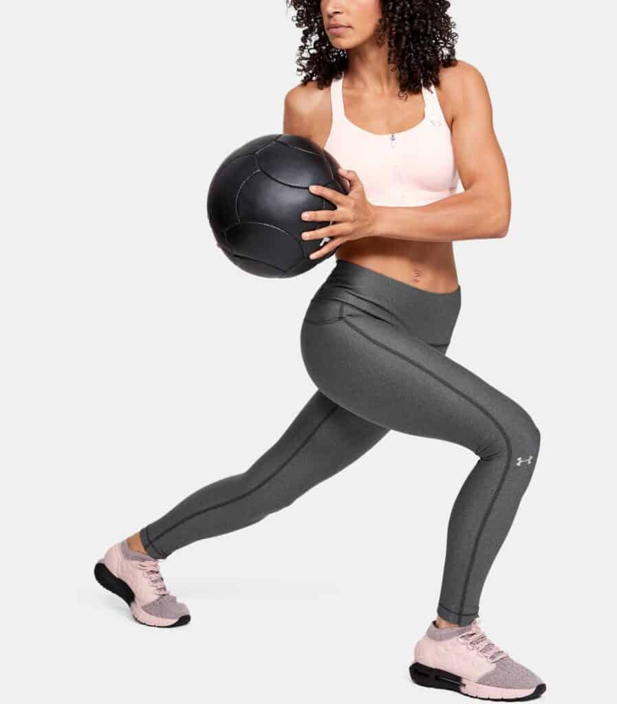 Women's HeatGear Armour Hi-Rise Leggings - Charcoal Light Heather - with Med Ball