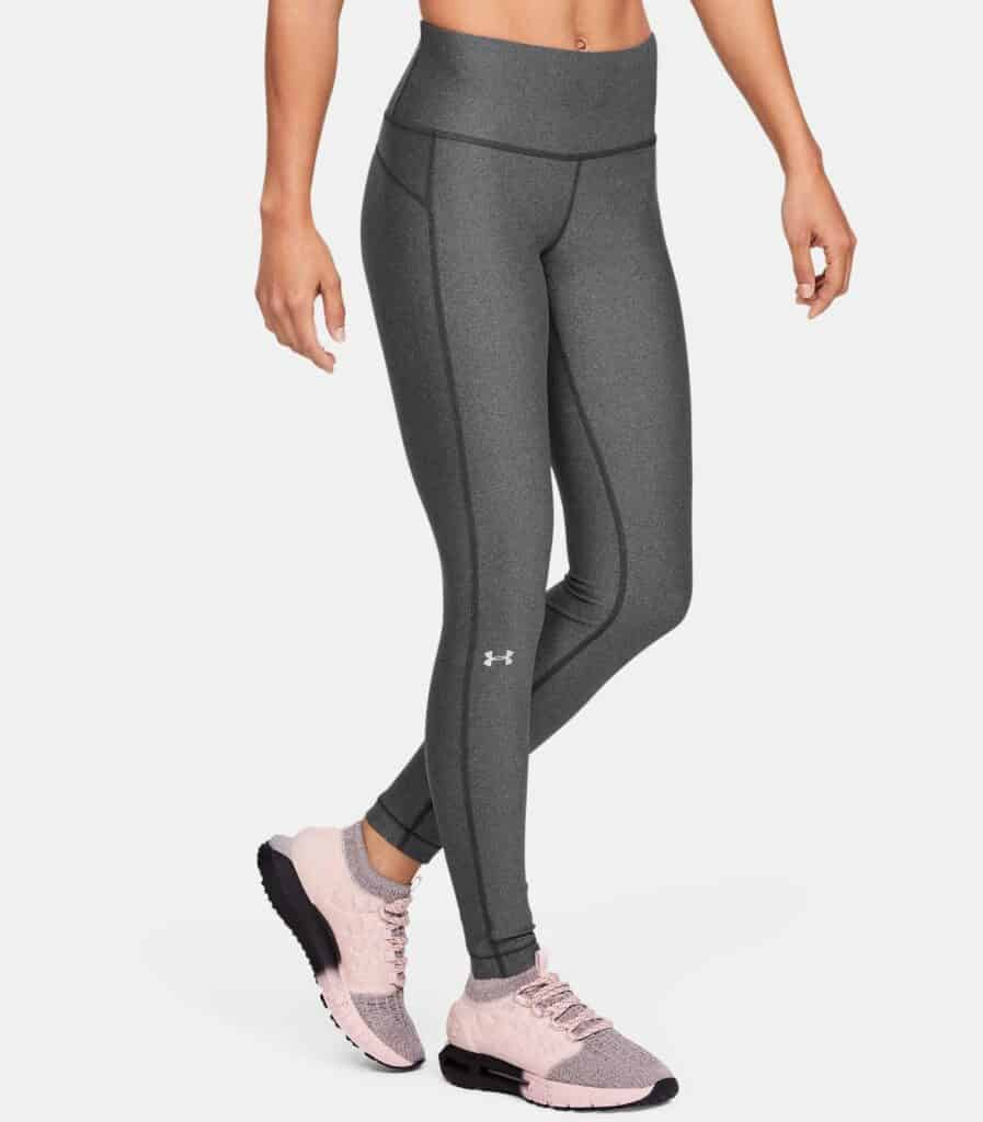 Women's HeatGear Armour Hi-Rise Leggings - Charcoal Light Heather - Front View