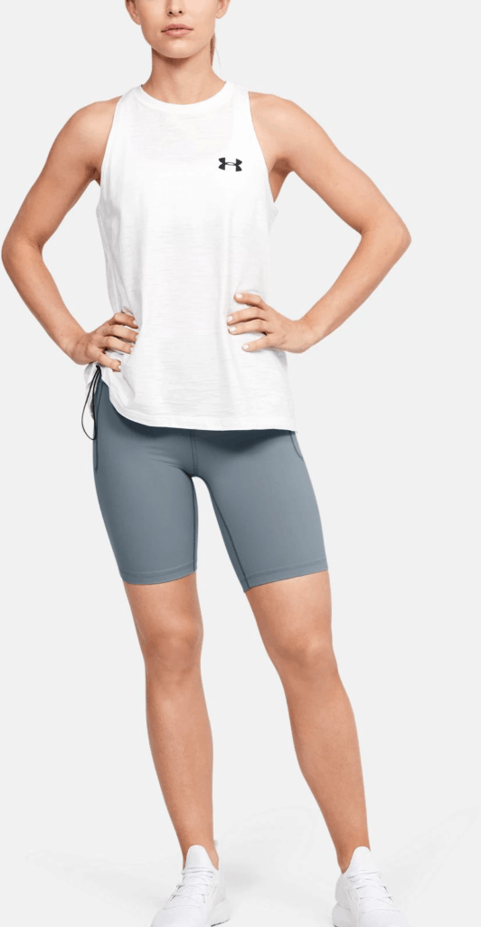 Women's UA Meridian Bike Shorts in Hushed Turquoise with shirt