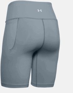 Women's UA Meridian Bike Shorts in Hushed Turquoise - high waist rear view