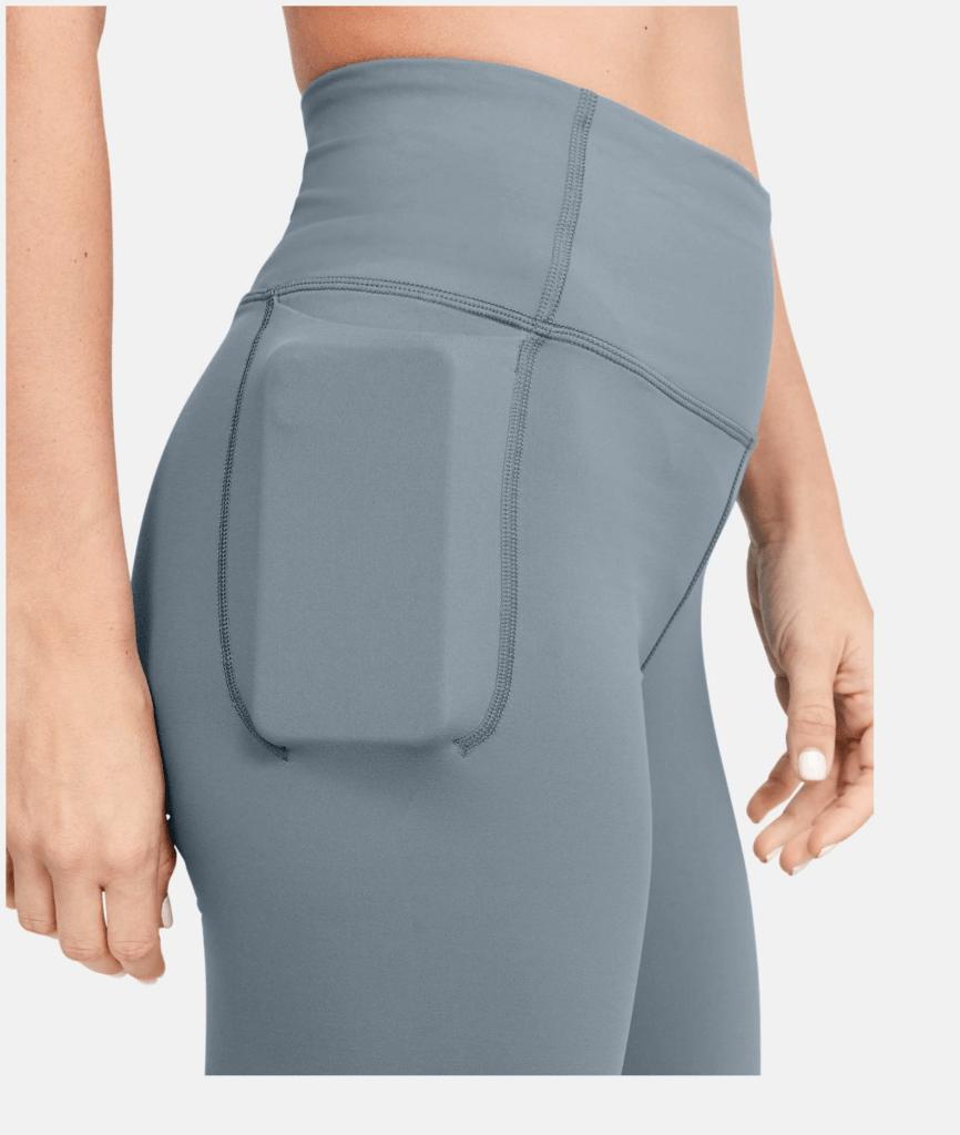 Women's UA Meridian Bike Shorts in Hushed Turquoise side pocket side profile