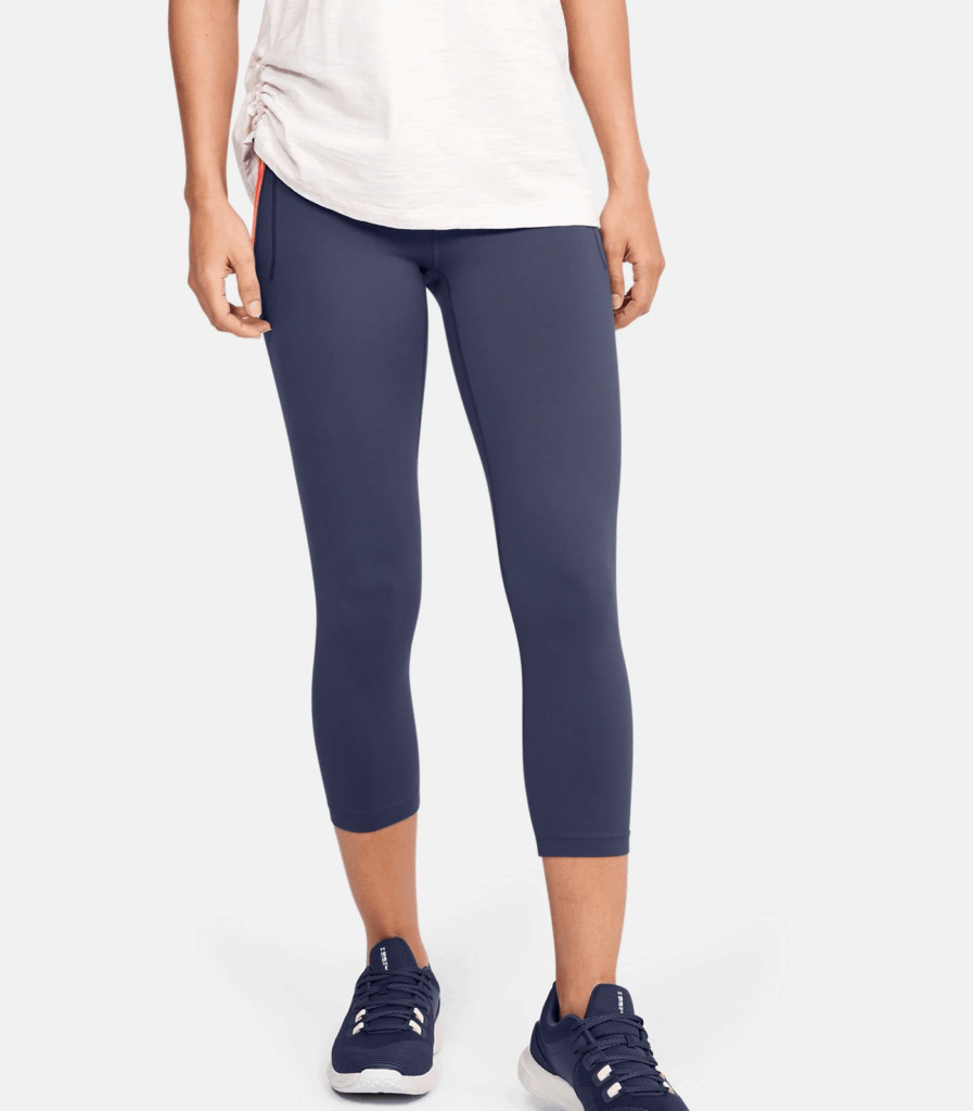Women's UA Meridian Crop in Blue Ink with baggy shirt