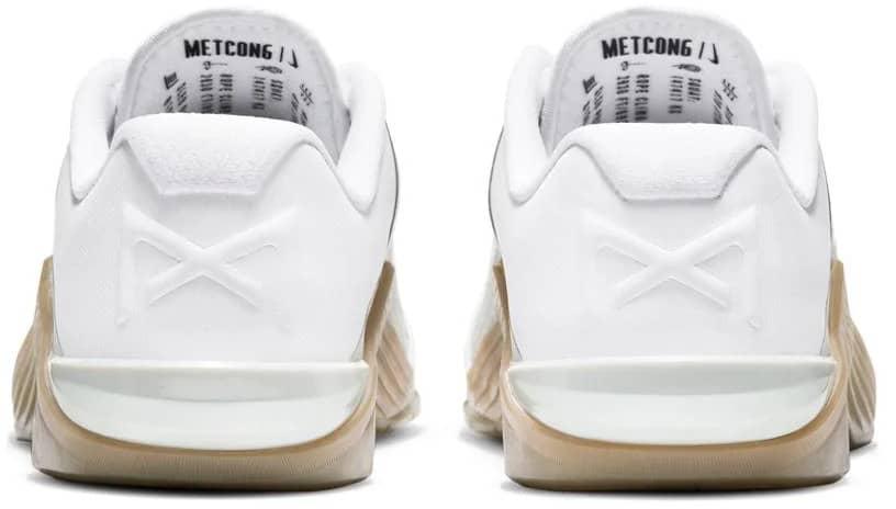 Nike Metcon 6 - Mens White Black Gum Dark Brown Gray Fog back view pair