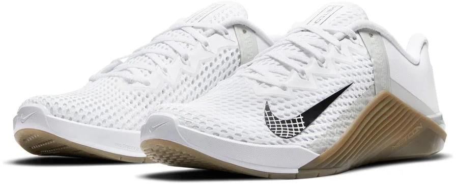 Nike Metcon 6 - Mens White Black Gum Dark Brown Gray Fog quarter view left pair