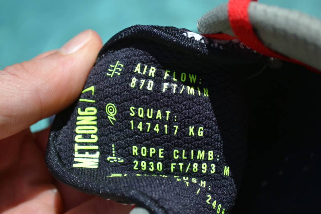Nike Metcon 6 X What the Metcon Knows Shoe Review text on tongue