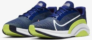 Nike ZoomX SuperRep Surge Deep ROyal Blue Cyber Bright Mango Whhite quarter view pair left