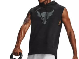 Under Armour Men's Project Rock Charged Cotton® Sleeveless Hoodie quarter with a barbell