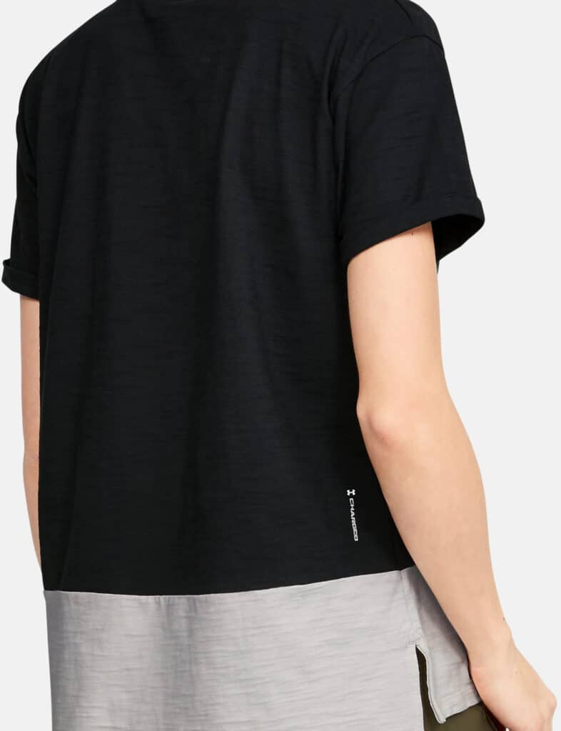 Under Armour Women's Project Rock Charged Cotton Short Sleeve worn back quarter-crop