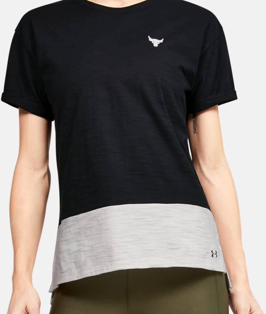 Under Armour Women's Project Rock Charged Cotton Short Sleeve worn front-crop
