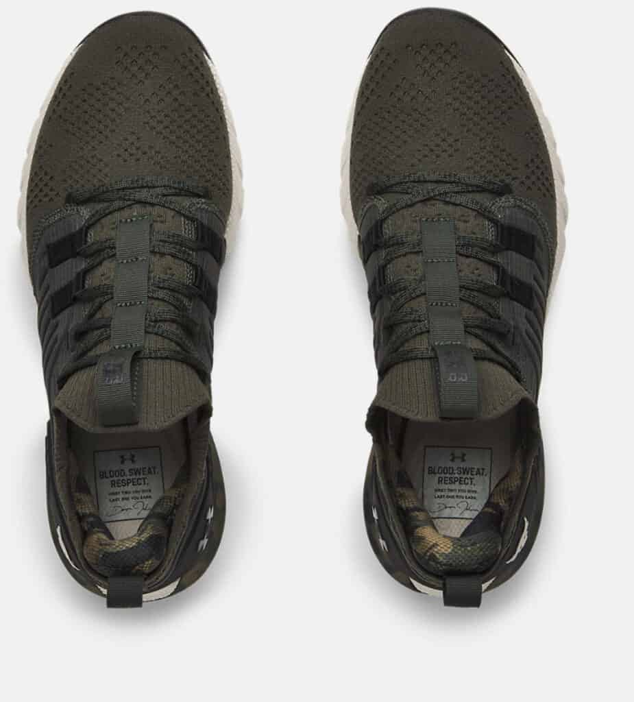 Under Armour Women's UA Project Rock 3 Camo Training Shoes top view-crop