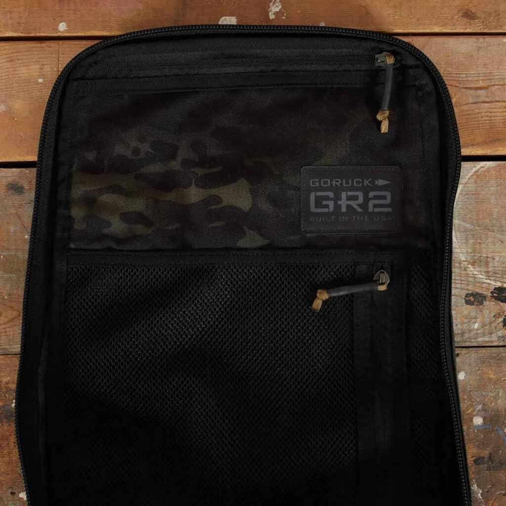 GORUCK GR2 black multicam pockets inside