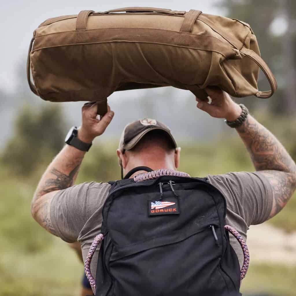 GORUCK Sandbags 60 lb coyote on back