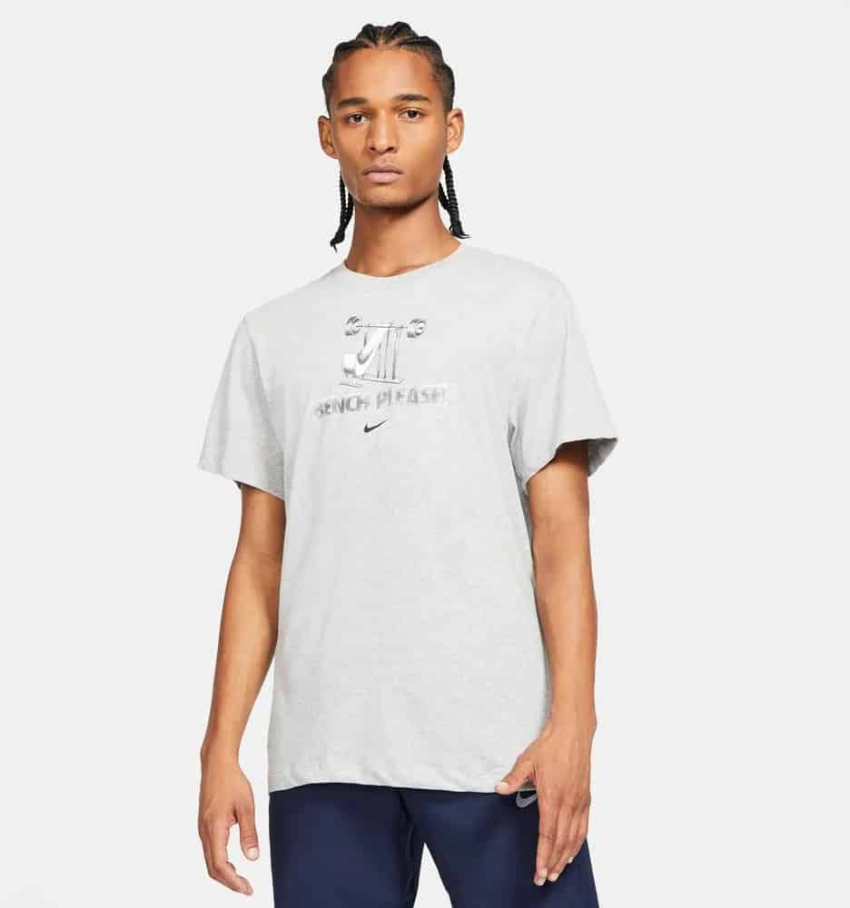 Nike Mens Dri-Fit Training T-Shirt Dark Heather Gray worn full view