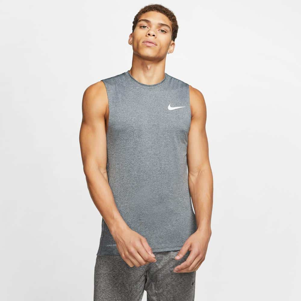 Nike Mens Pro Sleeveless Top Gray Particle Gray front view worn