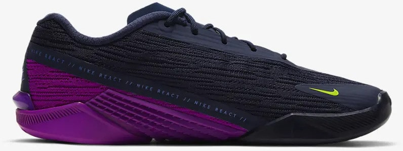 Nike React Metcon Turbo Womens Training Shoe Blackened Blue Red Plum Sapphire Cyber sside view right