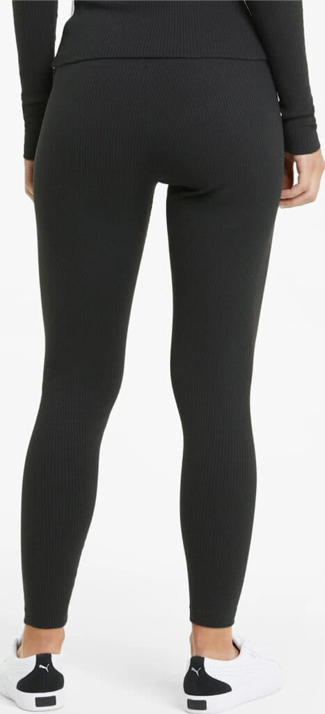 PUMA Classics Womens High Rise Ribbed Leggings back full