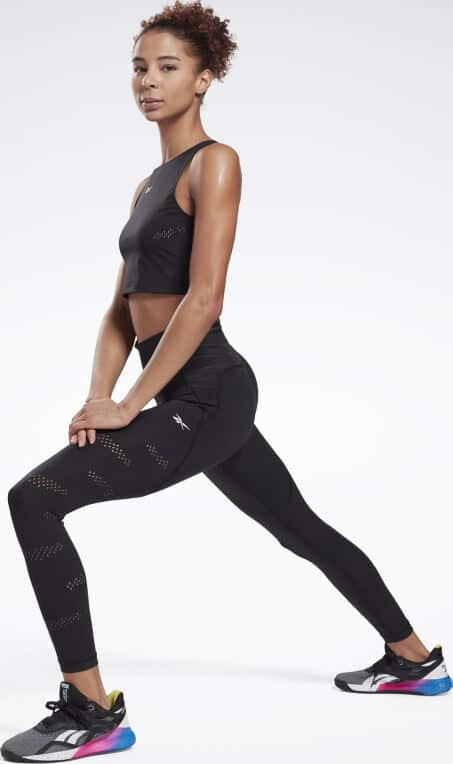 Reebok High-Rise Lux Perform Perforated Leggings lunge