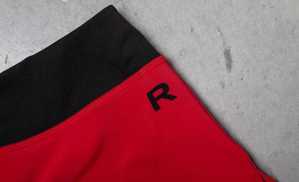 Rogue Women's Runner Shorts Red Hip Logo