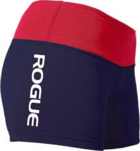 WOD Gear Clothing Wide Band Booty Shorts blue and red quarter view