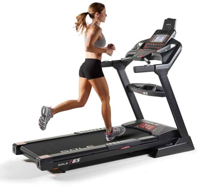 Sole F65 Treadmill running quarter view right