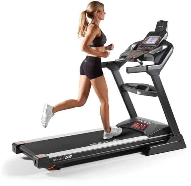 Sole F80 Treadmill woman running