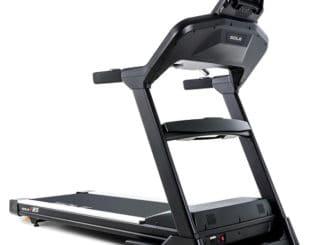 Sole F85 Treadmill front quarter view