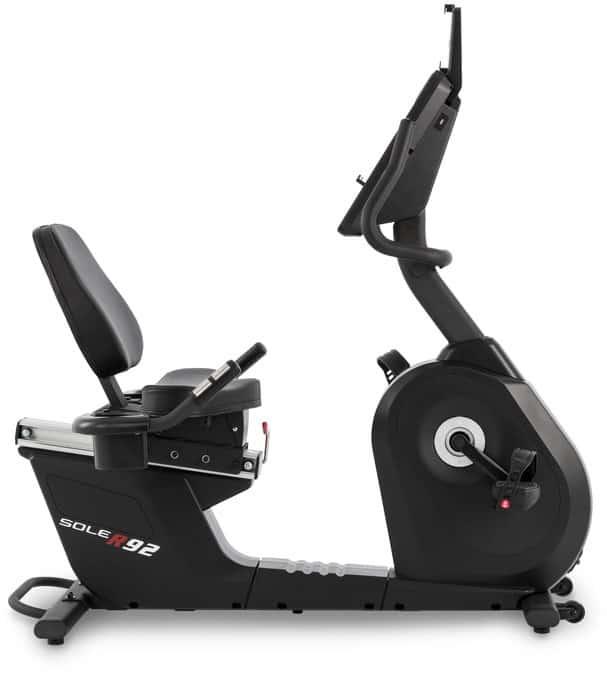 Sole Fitness R92 Recumbent Bike right side seat adjustment