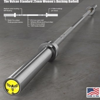 The Vulcan Standard 25 mm Womens Bushing Barbell description