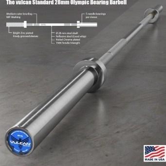 The Vulcan Standard Bearing Bar-Made in USA-28mm Olympic Bar description