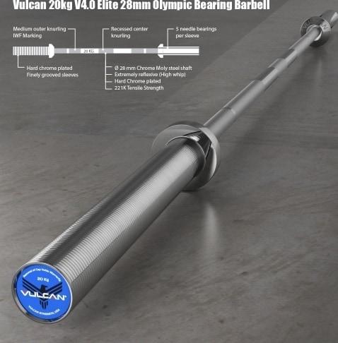 Vulcan 20 kg V4.0 Elite 28 mm Olympic Bearing Barbell desciption