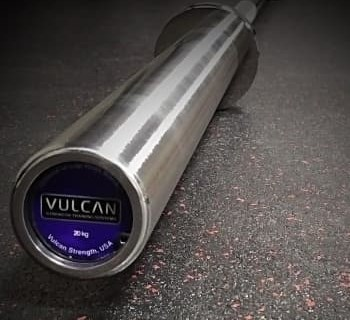 Vulcan Mens Absolute Stainless Steel Olympic Barbell end logo