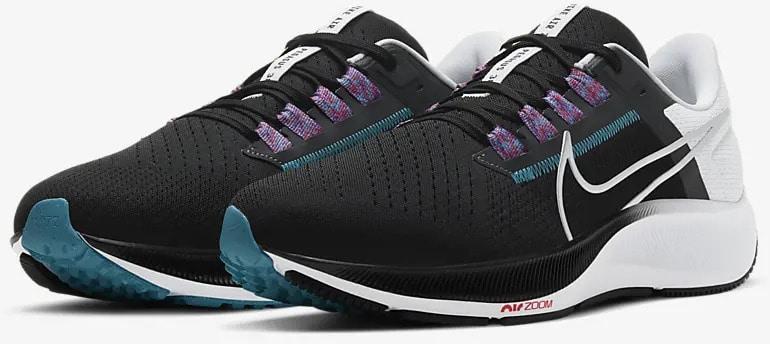 Nike Air Zoom Pegasus 38 Black-White-Chlorine Blue-Metallic Silver quarter view pair