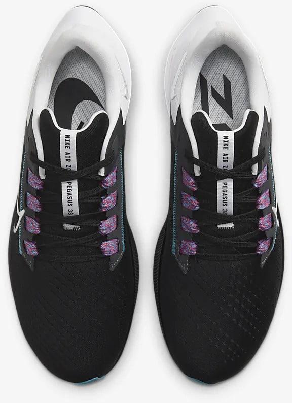 Nike Air Zoom Pegasus 38 Black-White-Chlorine Blue-Metallic Silver top view pair
