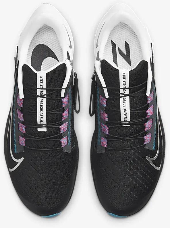 Nike Air Zoom Pegasus 38 FlyEase Black-White-Chlorine Blue-Metallic Silver pair top view