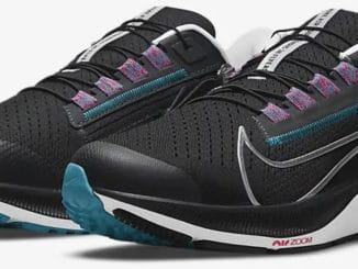 Nike Air Zoom Pegasus 38 FlyEase Black-White-Chlorine Blue-Metallic Silver quarter view left
