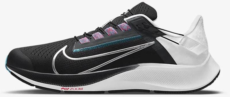 Nike Air Zoom Pegasus 38 FlyEase Black-White-Chlorine Blue-Metallic Silver side view left