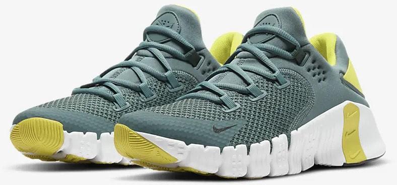 Nike Free Metcon 4 Hasta White Bright Citron Dark Smoke Grey quarter view
