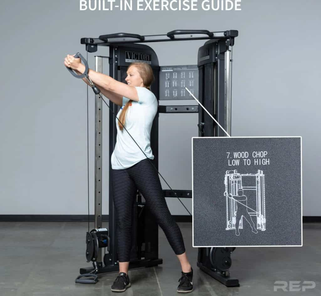 Rep Fitness REP FT-3000 Compact Functional Trainer built in exercise guide