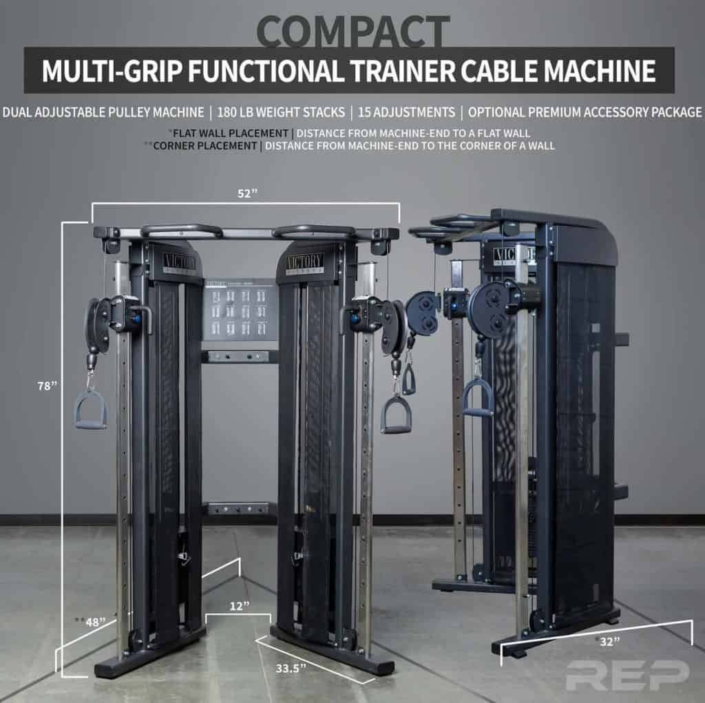 Rep Fitness REP FT-3000 Compact Functional Trainer side dimensions