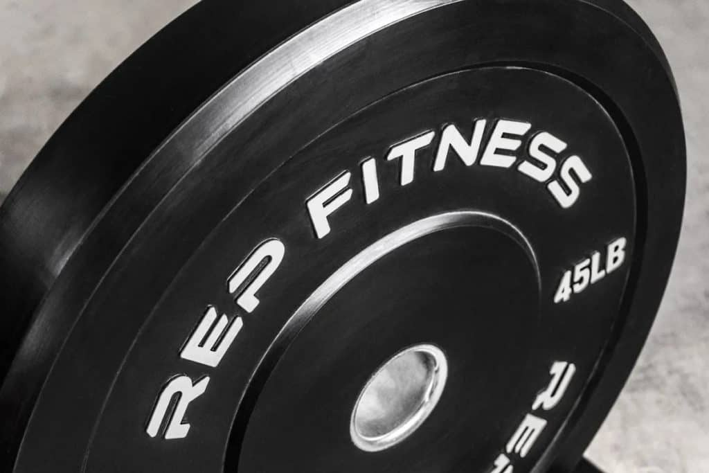 Rep Fitness Rep Black Bumper Plates close up