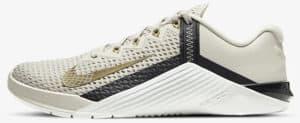 Nike Metcon 6 Light Orewood Brown Dark Smoke Grey Metallic Gold side view left