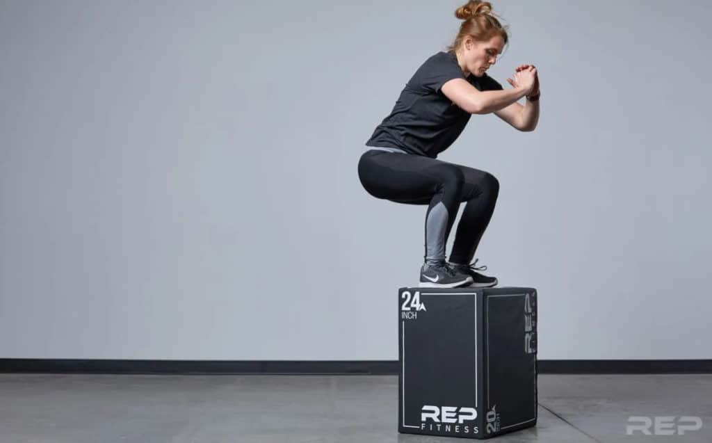 Rep Fitness 3-in-1 Soft Plyo Boxes with an athlete