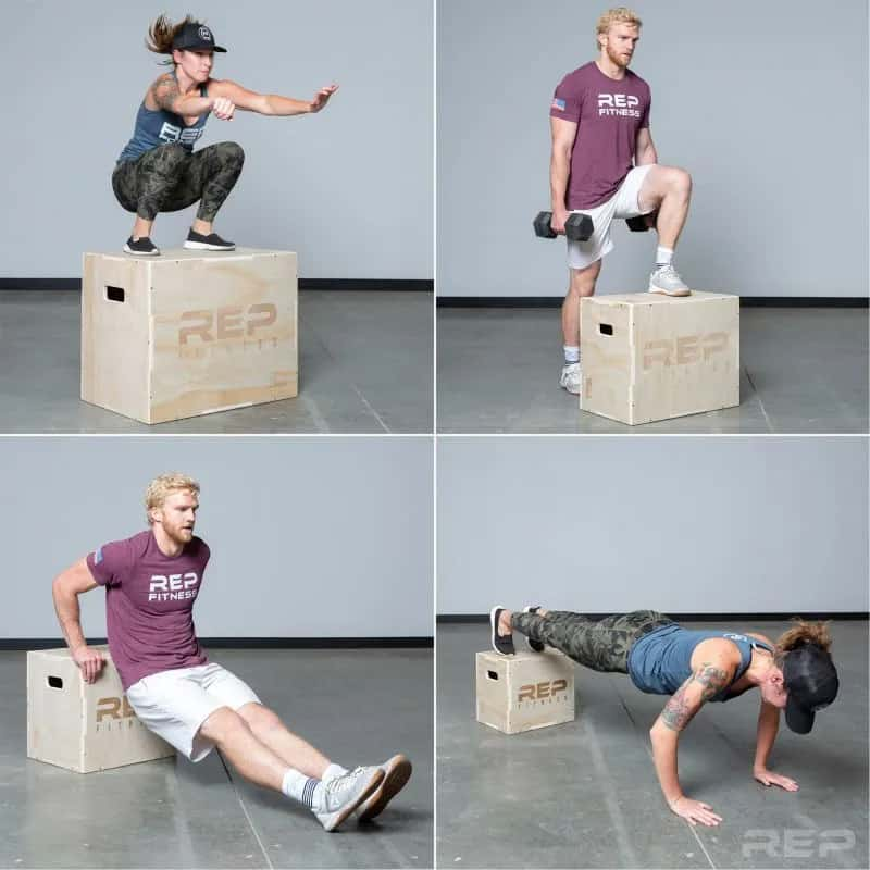 Rep Fitness 3-in-1 Wood Plyo Boxes different exercises